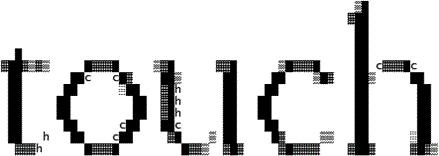 "The word ""touch"" written in black ASCII"